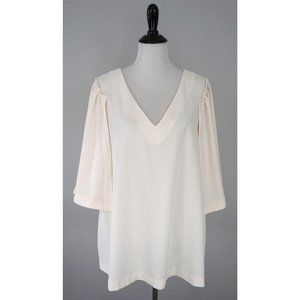 LANE BRYANT White V-Neck Tunic Blouse Top Shirt